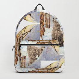 Wolf Oval Pattern Backpack