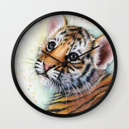 Tiger Cub Watercolor Cute Baby Animals Wall Clock