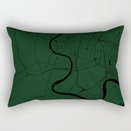 Bangkok Thailand Minimal Street Map - Forest Green and Black Rectangular Pillow