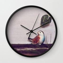 Rustic bird and wood Wall Clock