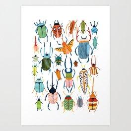 Woodland Beetles Art Print
