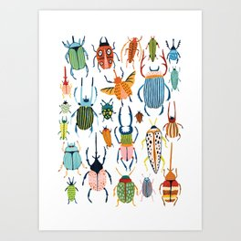 Woodland Beetles Art Print