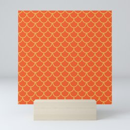 Mermaid Scales Pattern in Orange. Gold Scallops_Orange Mini Art Print