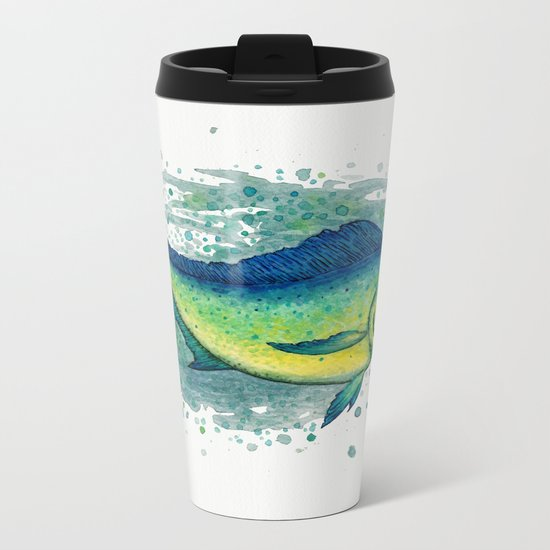 """""""Mahi Mahi Splash"""" by Amber Marine ~ Watercolor & Ink Painting, (c) 2016 Metal Travel Mug"""