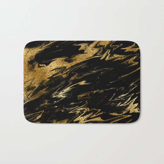 Luxury and sparkle gold glitter and black marble on #Society6 Bath Mat