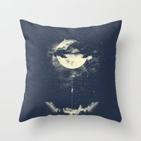 night Throw Pillows featuring MOON CLIMBING by los tomatos