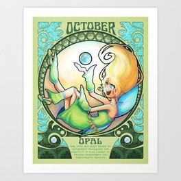 Birthstone Nouveau - October Art Print