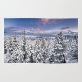 """Mountain light"". Snowy forest at sunset Rug"