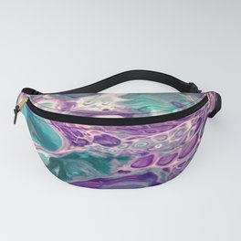 Lilies On A Purple Pond - Abstract Acrylic Art by Fluid Nature Fanny Pack
