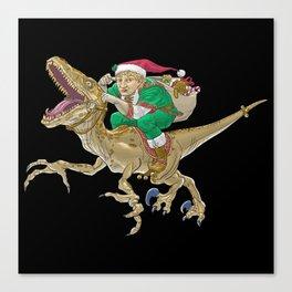 Christmas Elf Riding a Velociraptor Canvas Print