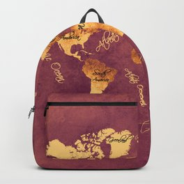 world map 150 rose brown gold #worldmap #map Backpack