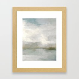 Modern Abstract Painting, Light Teal, Sage Green, Gray Cloudy Weather Digital Prints Wall Art, Ocean Gerahmter Kunstdruck