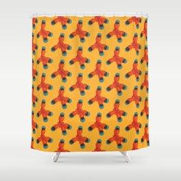 Orange Methane Molecule Shower Curtain