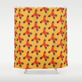 Orange Methane Molecule Shower Curtain