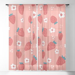 Wild Strawberries Red Sheer Curtain