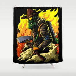 Firefighter Illustration | Fire Brigade Hero Flame Shower Curtain