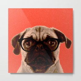 Geek Pug in Red Background Metal Print