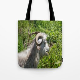 Side View of A Billy Goat Grazing Tote Bag