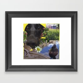 Callie and a Duck Framed Art Print