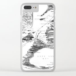 Vintage Cape Cod and NYC Steamboat Route Map BW Clear iPhone Case