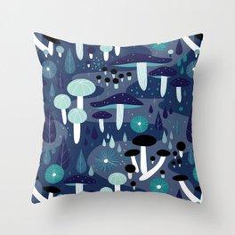 Midnight Mushrooms Throw Pillow