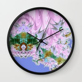 Lilac Dreams Fractal Abstract Wall Clock