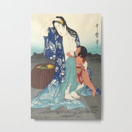Japanese Antique Woodblock Print - Japanese Woman Breastfeeding a Toddler Metal Print