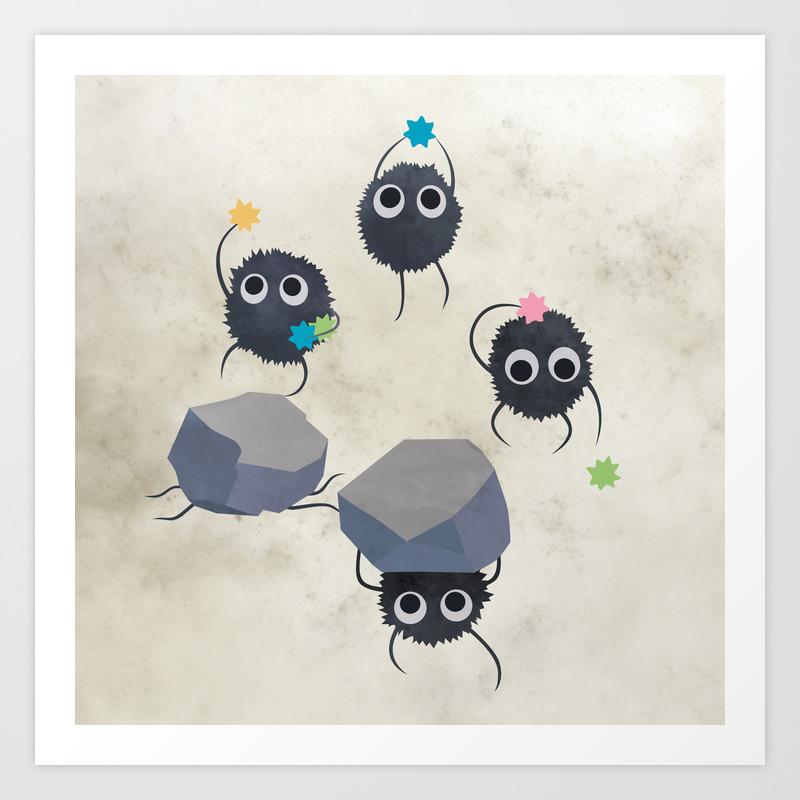 Spirited Away Susuwatari Creatures Illustration Miyazaki Studio Ghibli Art Print By Lizasou Society6