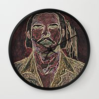 nick cave Wall Clocks featuring Cave by Alec Goss