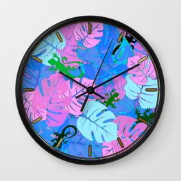 Monstera and Lizards in Blue Wall Clock