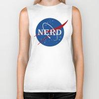 nerd Biker Tanks featuring Nerd by jekonu