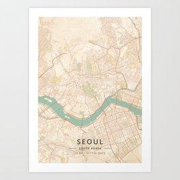 Seoul, South Korea - Vintage Map Art Print