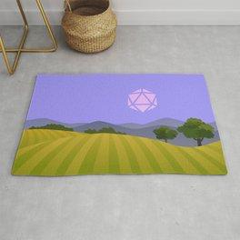 Purple Blue Hour Sunset D20 Dice Sun Tabletop RPG Landscapes Rug