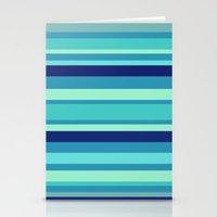 preppy Stationery Cards featuring Preppy Stripes - Aqua Blues by Sweet Karalina
