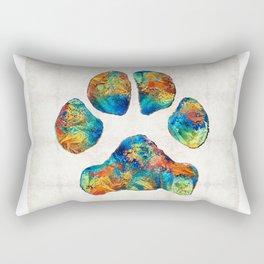 Colorful Dog Paw Print by Sharon Cummings Rectangular Pillow