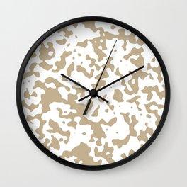 Spots - White and Khaki Brown Wall Clock
