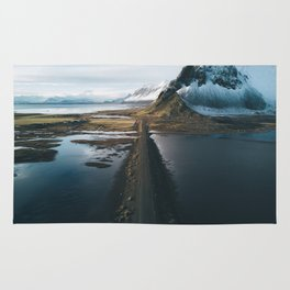 Mountain road in Iceland - Landscape Photography Rug