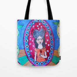 Double rooster headed girl with sacred heart and floral border Tote Bag