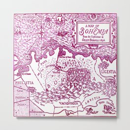 Map of Bohemia (pink) Metal Print