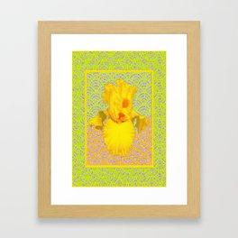 Lemon-Green-Yellow Patterned Yellow Iris Art Design Framed Art Print
