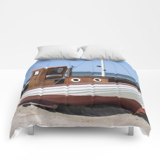 Fishing Boat on the Beach Comforters