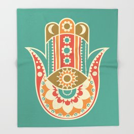 Colorful Hamsa Hand Throw Blanket