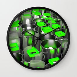 Metal tubes, hexagons and glass Wall Clock