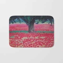 Olive Tree in Poppy Field Bath Mat