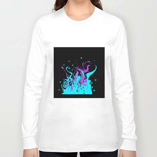 Turquoise pink abstract pattern on a black background . Splash . Long Sleeve T-shirt