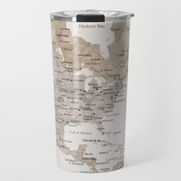 World map with cities in brown and light gray Travel Mug