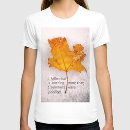 Autumn. Fallen leaf on dirty ice. T-shirt