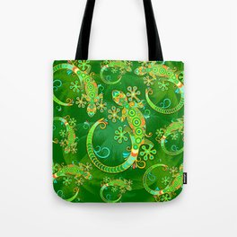 Gecko Lizard Colorful Tattoo Style Tote Bag