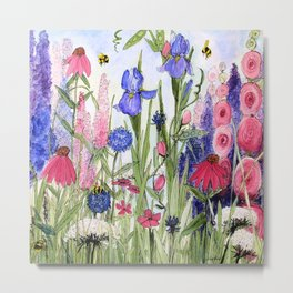 Colorful Garden Flower Painting Metal Print