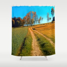 Hiking trail following the trees Shower Curtain